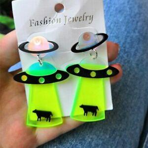 1pc Acrylic Spaceship Dangle Earrings Hiphop Spaceman Drop Earring Women's Fashi