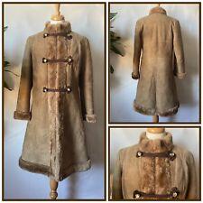 Vintage 1970s Brown Sheepskin Afghan Style Coat Penny Lane Boho Size 10 12