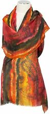 Schal 100% Cashmere Orange Braun Brown Rot  Red Digital Print scarf foulard