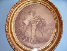"""Piccolo antico c18th georgiano Print """"novembre"""" HAMILTON ORIGINALE DORATI Frame c1790"""