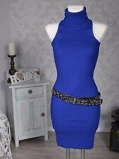 Femmes Robe Tricotée col roulé sans manches Stretch nervuré bleu neuf
