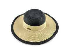 Panama Jack Hat Women Black Beige Paper Braid Sun Hat One Size