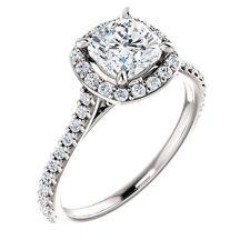 Halo Style White Gold Cushion Diamond Pave Semi Mount Setting Engagement Ring