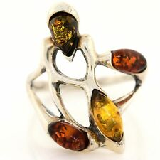 Sterling Silver Amber Freeform Alien Brutalist Modernist Signed Ring Sz. 7.5 VTG