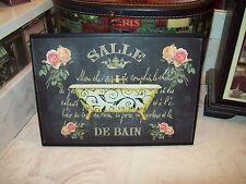 PARIS wall decor Salle de bain chalkboard look large plaque 8x10 French chic