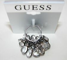 NEW GUESS WOMEN'S PEWTER TONE RING+CUT CRYSTAL RHINESTONE-SIZE 8-164213C-21