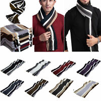 Men Cashmere Scarf Super Soft Fringe Striped Tassel Long Shawl Stole Neck Wrap