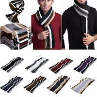Men's Cashmere Scarf Winter Warm Fringe Striped Tassel Long Shawl Wrap Scarves