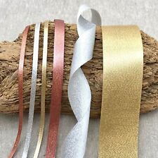 Sparkle Satin Ribbon - Rose Gold Wedding - Silver - Gold - 3/10/15/25/38mm