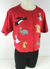 Bechamel Red Bunny Top Jacket Sz. Petite Embroidered Rabbits Button Front Cute!