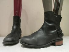 UGG AUSTRALIA BLACK LEATHER ZIP UP STACK HEELED ANKLE BOOTS UK 6.5 EU 39 (3383)