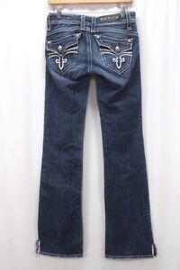 medium wash distressed ROCK REVIVAL Stephanie boot cut jeans stretch denim 26