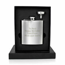 Personalised Engraved Stainless Steel 6oz Hip Flask, Funnel + Gift Box - Bookman