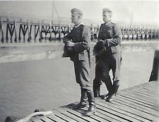 WWII German RP- Soldier- Ocean- Pier- Boardwalk- Knife- Overseas Hat-1930s-40s