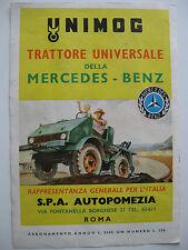 PUBBLICITA trattore UNIMOG MERCEDES BENZ Autopomezia V. Fontan. Borg. Roma 1952