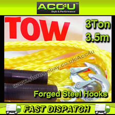 3 Tonne 3000kg 3.5m Heavy Duty Car Breakdown Towing Tow Rope With Steel Hooks