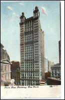 New York USA vintage postcard 1909 postaly used Park Row Building Hochhaus AK