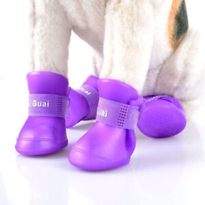4pcs Anti-Slip Waterproof Rubber Protective Boots Soft Pet Puppy Shoe S/M/L Dogs
