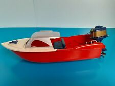 Vintage 1960's Knickerbocker Cabin Cruiser Toy Boat with Outboard Motor, Works
