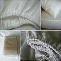 Linen Fitted Sheet UK Australia Sizes White Oatmeal Beige