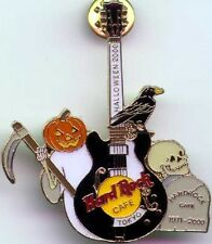 Hard Rock Cafe TOKYO 2000 HALLOWEEN PIN Ghost Raven Skull Tombstone GUITAR 10153