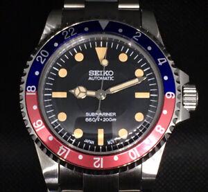 Seiko Mod Pepsi Submariner Vintage Diver Automatic 5513 5517 NH35 SKX Milsub