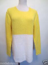 TOP Pullover Carlo Colucci woman Longpullover ca 38 40 42 M L gelb weiß/GG5
