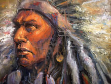 INDIAN WARRIOR CHIEF Southwestern Western Original Oil old west Native American