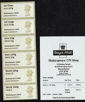 *NEW VALUES* 2020 GB Post & Go Shakespeare Collectors Machin A009 World 100 Z1-3