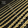 """24K Gold Plated High Fashion 30"""" inch Italy Rope Chain Necklace 2.5 mm-10 mm"""