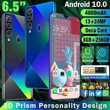 "6.5"" FingerPrint Dual SIM 8GB+256BG&128GB TF Card Android 10.0 Full Screen Phone"