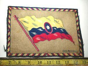 VINTAGE / ANTIQUE COLOMBIA CIGAR BOX FELT FLAG DOLLHOUSE RUG {49}