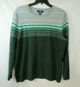 LANDS END Cashmere Sweater Womens 1X (16-18) Green Crew Neck Patterned Soft
