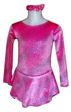 6-8 years girls hot Pink velvet Stars figure ice skating dress practice New