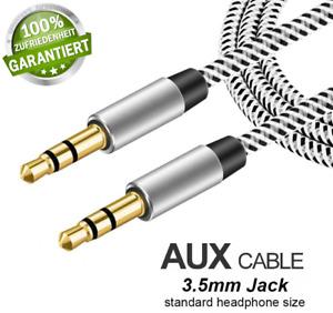 AUX Audio Kabel 3,5mm Klinke Stecker Stereo Kopfhörer Handy Auto 24k💥vergoldet