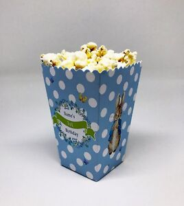 5 x Peter Rabbit Childrens Personalised Mini Popcorn Party Treat Boxes Favour