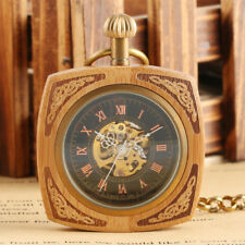 Creative Square Bamboo Automatic Mechanical Pocket Watch Retro Exquisite Gift