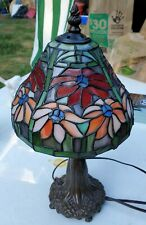 Tiffany Style Table Lamp Traditional Bronze Leaf FLOWER Glass BRIGHT NO RESERVE