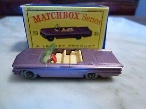 Matchbox Lesney Pontiac Convertible #39 Rare Model Mint Condition in Box MIB