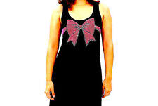 NEW NWT $155 E.VIL PINK CRYSTAL BOW BLACK MAXI DRESS SUPER RARE FITS S - M