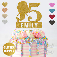 Personalised Custom Glitter Cake Topper Mermaid Girls Birthday, Add Any Name Age