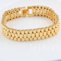 Solid 24k 24ct Yellow Gold Filled Womens Mens Bracelet Wide Wrist Chain Link