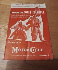Sunbeam Motor cycle club Point à point Tottington Mount Sussex programme 1956
