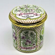 Halcyon Days English Enamel Box - Herbs & Flowers - Shakespeare Quote - Mib