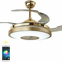 """36""""Gold Smart Ceiling Fans Chandeliers Light Lamp +Bluetooth Remote Music Player"""