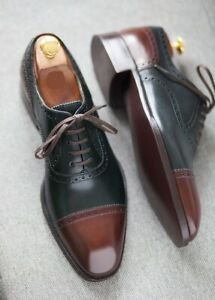 Handmade Mens Two tone Oxfords Shoes, Mens Leather dress Shoes, Mens Shoes