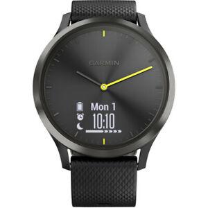 Garmin 010-01850-11 vívomove HR Sport Hybrid Smartwatch, Black, Large