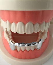 Hip Hop Silver Mouth Teeth Grills Grillz - Bottom Lower Fangs S020-HS
