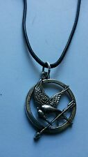 HUNGER GAMES ON BLACK LEATHER CORD SLIDING KNOT ADJUSTABLE CHOKER NECKLACE