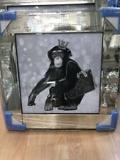 MONKEY WITH LOUIS VUITTON GLITTER LIQUID ART MIRROR FRAME PICTURE WALL ART